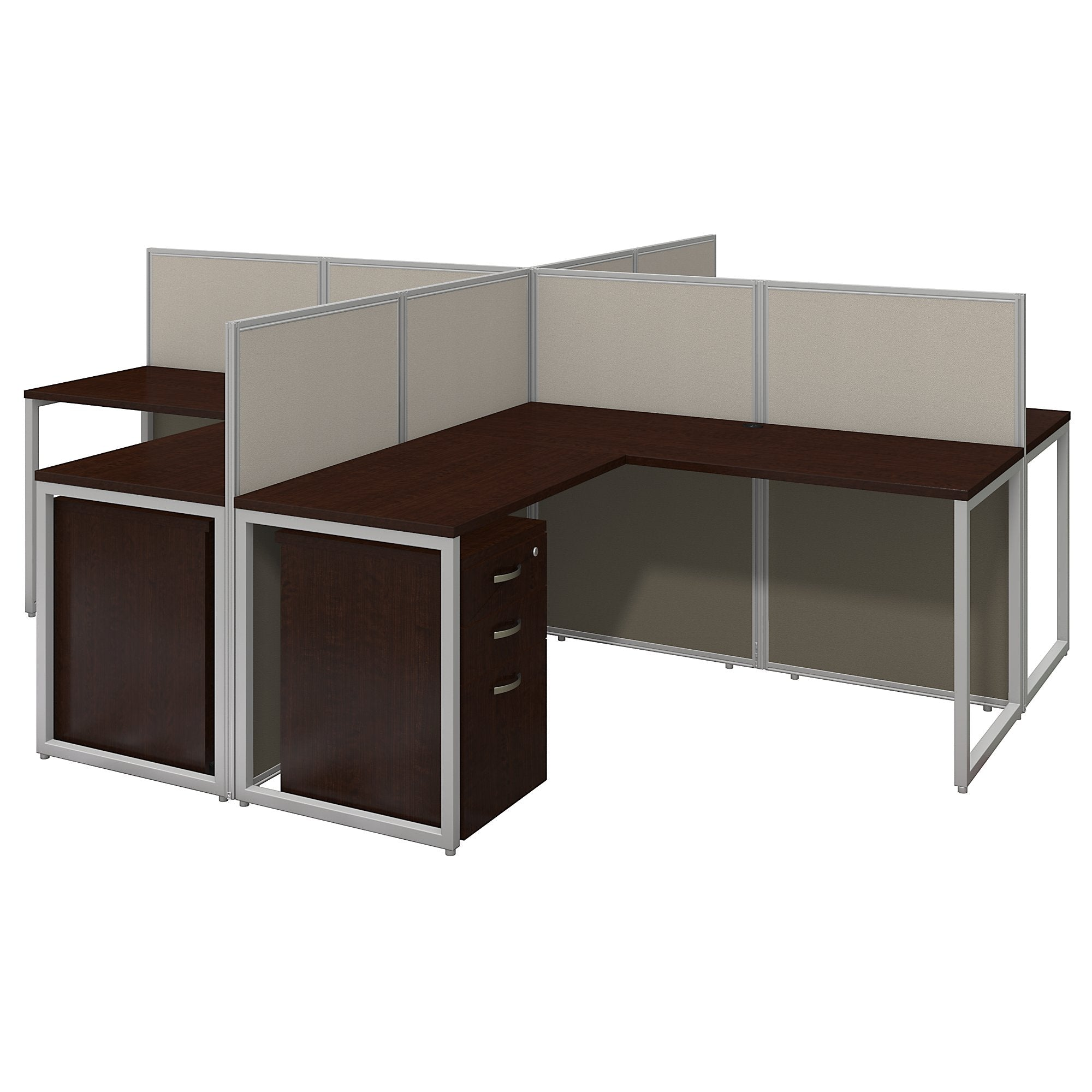 Bush Business Furniture Easy Office 60W 4 Person L Shaped Desk Open Office with Mobile File Cabinets | Mocha Cherry
