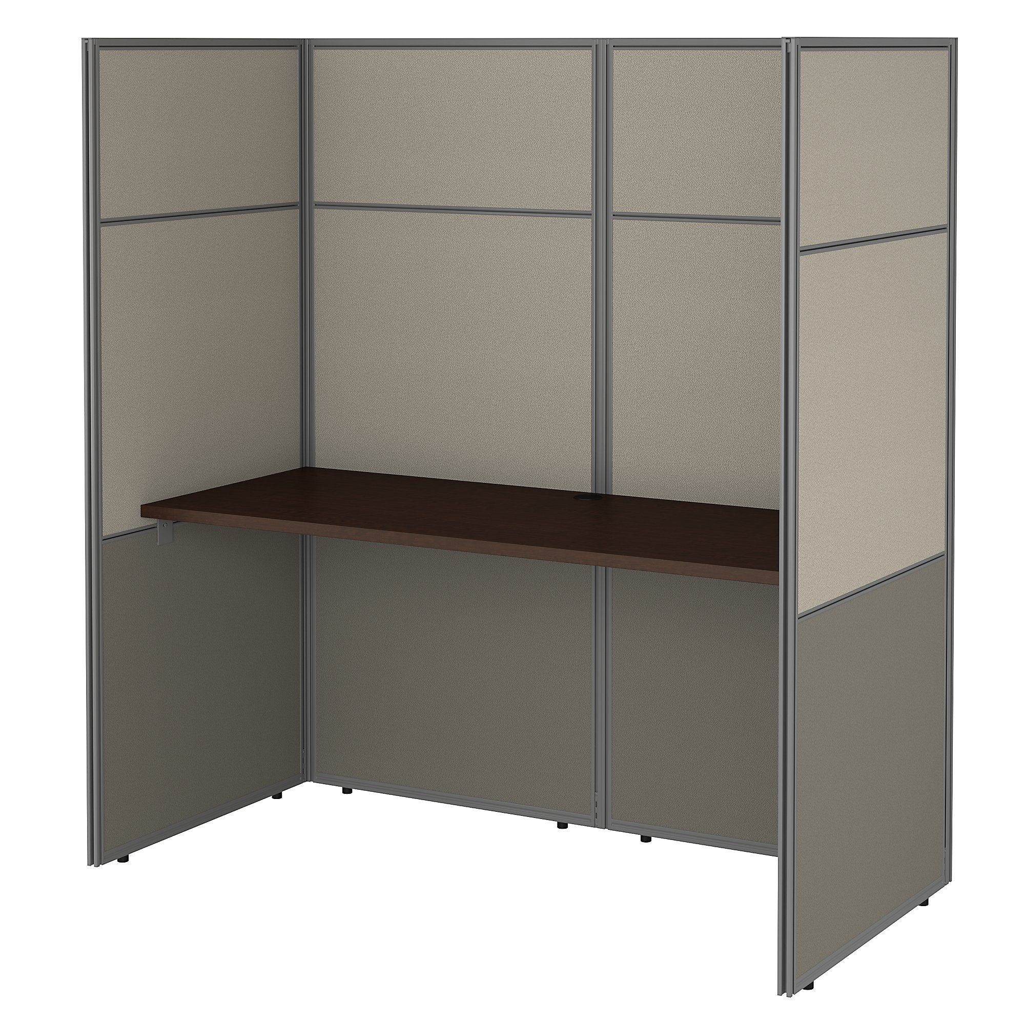 Bush Business Furniture Easy Office 60W Cubicle Desk Workstation with 66H Closed Panels | Mocha Cherry