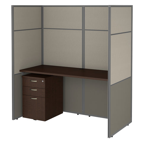 Bush Business Furniture Easy Office 60W Cubicle Desk with File Cabinet and 66H Closed Panels Workstation | Mocha Cherry