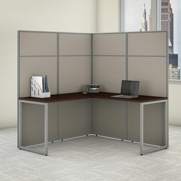 Bush Business Furniture Easy Office 60W L Shaped Cubicle Desk Workstation with 66H Panels | Mocha Cherry