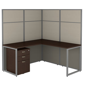 Bush Business Furniture Easy Office 60W L Shaped Cubicle Desk with File Cabinet and 66H Panels | Mocha Cherry