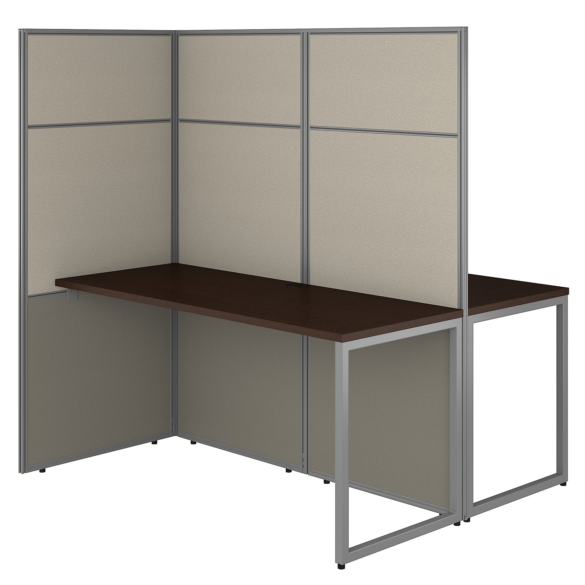 Bush Business Furniture Easy Office 60W 2 Person Cubicle Desk Workstation with 66H Panels | Mocha Cherry