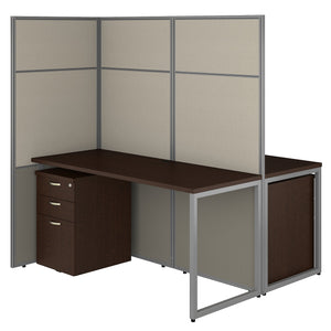 Bush Business Furniture Easy Office 60W 2 Person Cubicle Desk with File Cabinets and 66H Panels | Mocha Cherry