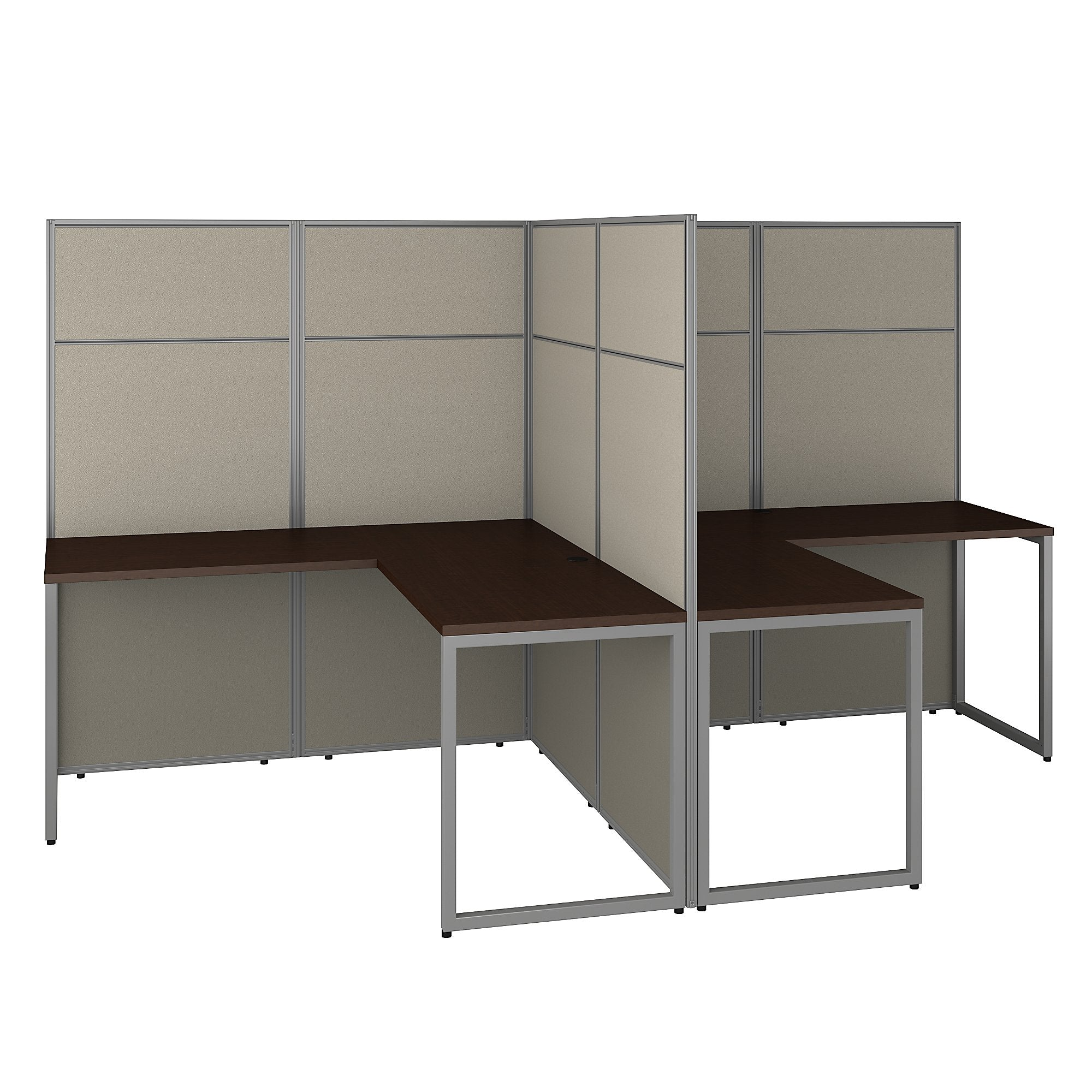 Bush Business Furniture Easy Office 60W 2 Person L Shaped Cubicle Desk Workstation with 66H Panels | Mocha Cherry