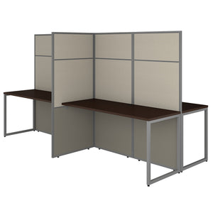 Bush Business Furniture Easy Office 60W 4 Person Cubicle Desk Workstation with 66H Panels | Mocha Cherry
