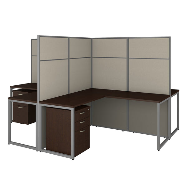 Bush Business Furniture Easy Office 60W 4 Person L Shaped Cubicle Desk with Drawers and 66H Panels | Mocha Cherry