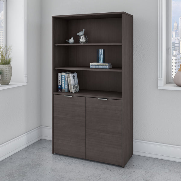 Bush Business Furniture Jamestown 5 Shelf Bookcase with Doors | Storm Gray