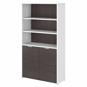Bush Business Furniture Jamestown 5 Shelf Bookcase with Doors | Storm Gray/White