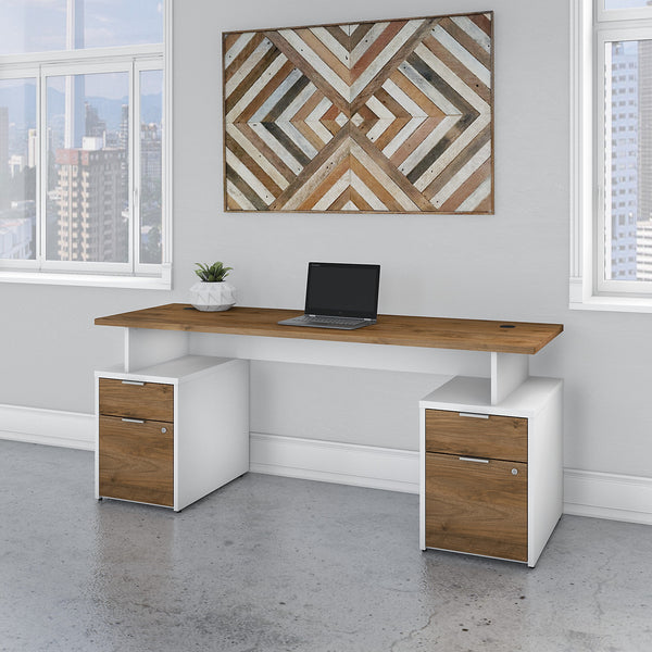 Bush Business Furniture Jamestown 72W Desk with 4 Drawers | Fresh Walnut/White