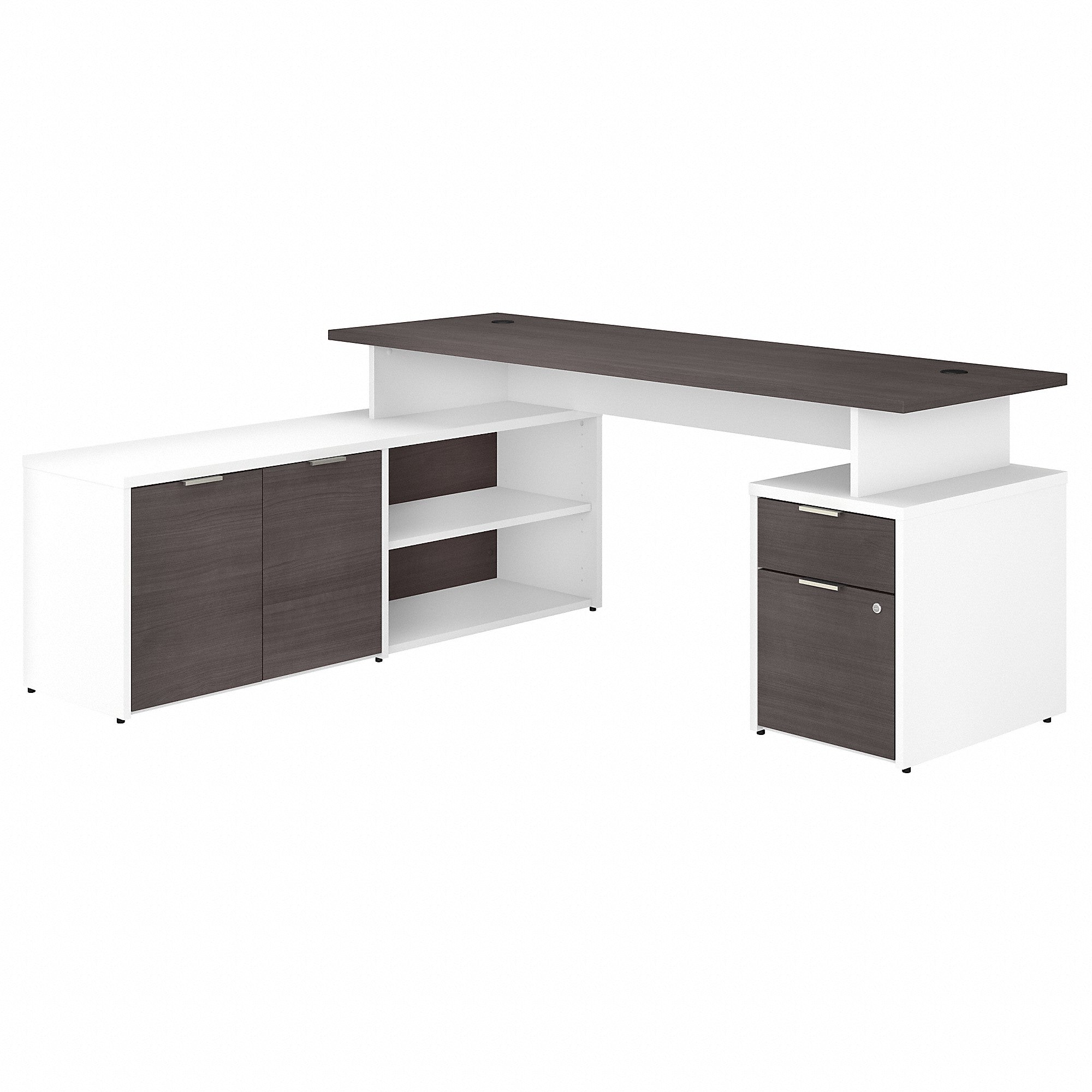 Bush Business Furniture Jamestown 72W L Shaped Desk with Drawers | Storm Gray/White