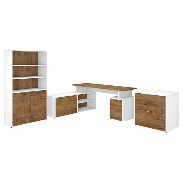 Bush Business Furniture Jamestown 72W L Shaped Desk with Lateral File Cabinet and 5 Shelf Bookcase | Fresh Walnut/White
