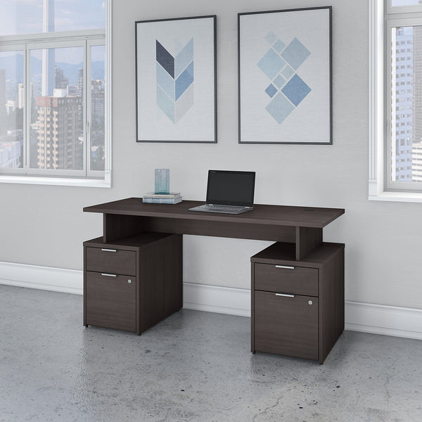 Bush Business Furniture Jamestown 60W Desk with 4 Drawers | Storm Gray