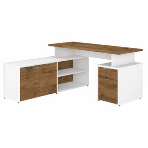 Bush Business Furniture Jamestown 60W L Shaped Desk with Drawers | Fresh Walnut/White