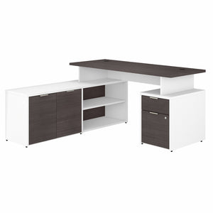 Bush Business Furniture Jamestown 60W L Shaped Desk with Drawers | Storm Gray/White