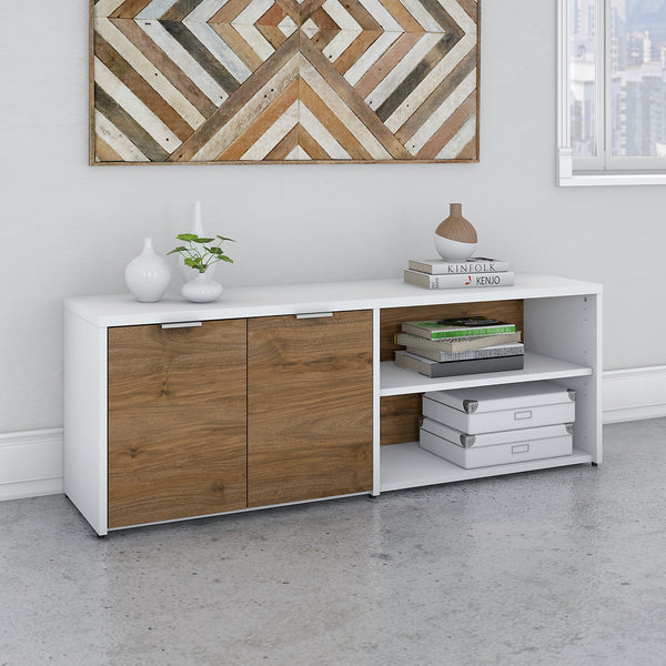 Bush Business Furniture Jamestown Low Storage Cabinet with Doors and Shelves | Fresh Walnut/White