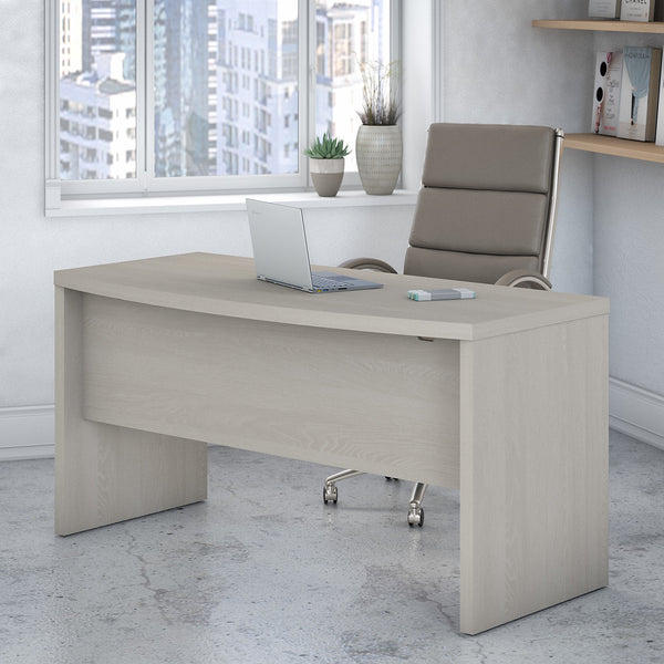 Office by kathy ireland® Echo 60W Bow Front Desk | Gray Sand