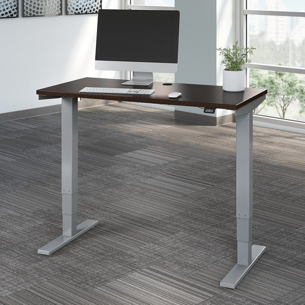 Move 40 Series by Bush Business Furniture 48W x 24D Electric Height Adjustable Standing Desk | Mocha Cherry/Cool Gray Metallic
