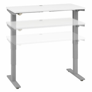 Move 40 Series by Bush Business Furniture 48W x 24D Electric Height Adjustable Standing Desk | White/Cool Gray Metallic