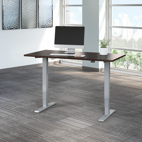 Move 40 Series by Bush Business Furniture 60W x 30D Electric Height Adjustable Standing Desk | Mocha Cherry/Cool Gray Metallic