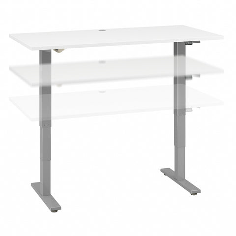 Move 40 Series by Bush Business Furniture 60W x 30D Electric Height Adjustable Standing Desk | White/Cool Gray Metallic