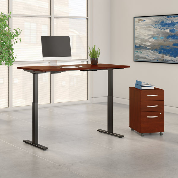 Move 60 Series by Bush Business Furniture 60W x 30D Height Adjustable Standing Desk with Storage | Hansen Cherry/Black Powder Coat