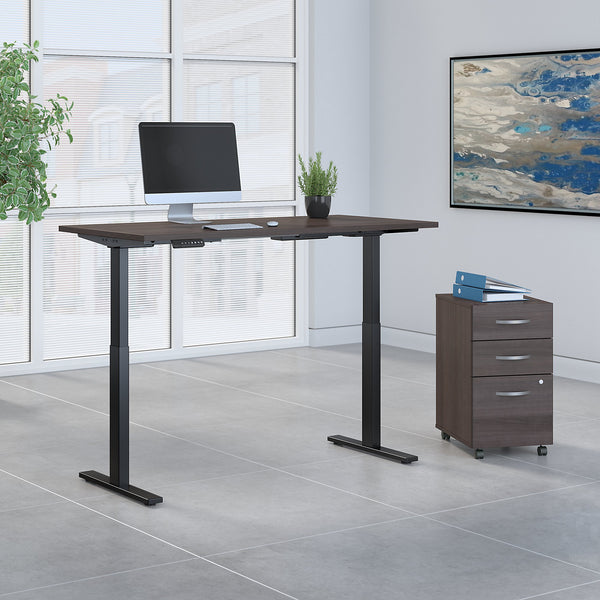 Move 60 Series by Bush Business Furniture 60W x 30D Height Adjustable Standing Desk with Storage | Storm Gray/Black Powder Coat