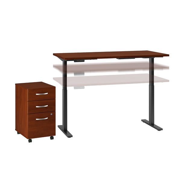 Move 60 Series by Bush Business Furniture 72W x 30D Height Adjustable Standing Desk with Storage | Hansen Cherry/Black Powder Coat