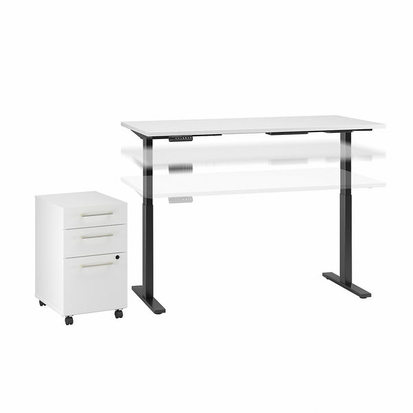 Bush Business Furniture Move 60 Series 72W x 30D Height Adj Standing Desk and 3 Dwr Mobile Pedestal| Storm Gray