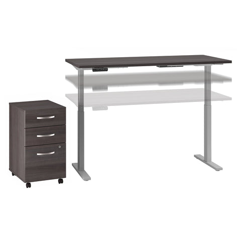 Move 60 Series by Bush Business Furniture 60W x 30D Height Adjustable Standing Desk with Storage | Storm Gray/Cool Gray Metallic