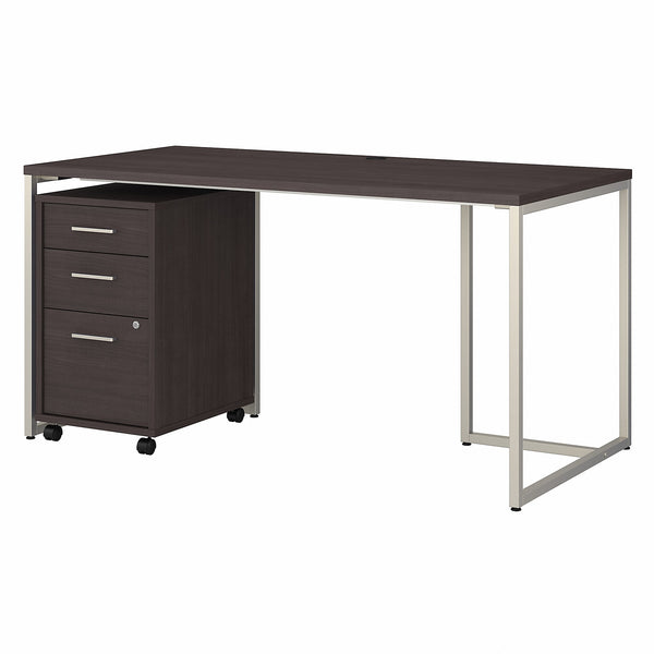 Office by kathy ireland Method 60W Table Desk with 3 Drawer Mobile File Cabinet | Storm Gray