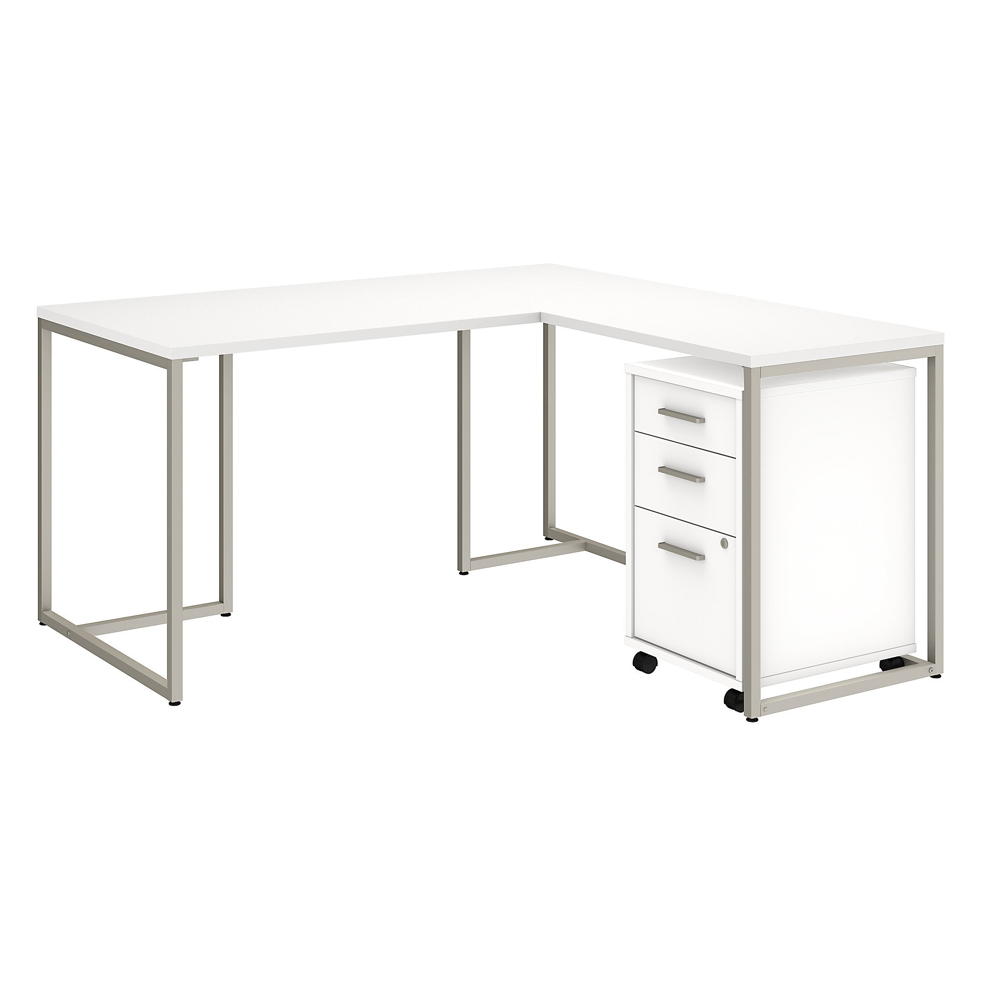Office by kathy ireland® Method 60W L Shaped Desk with 30W Return and Mobile File Cabinet | White