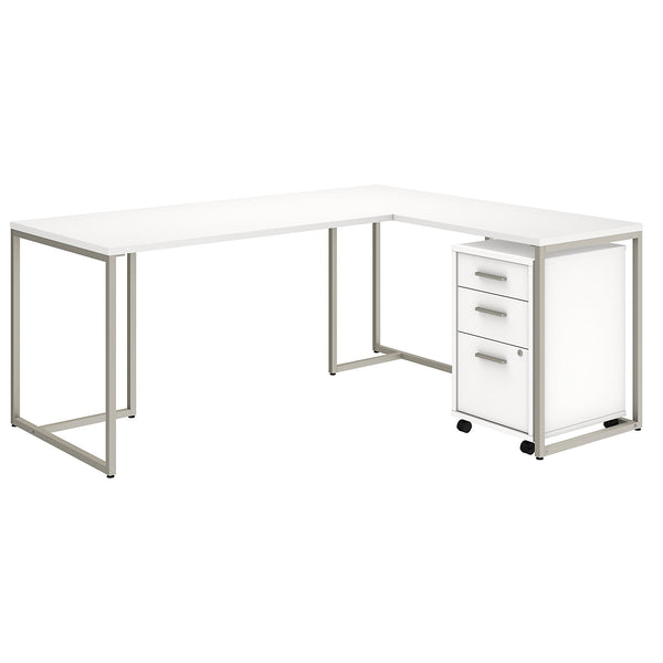 Office by kathy ireland® Method 72W L Shaped Desk with 30W Return and Mobile File Cabinet | White