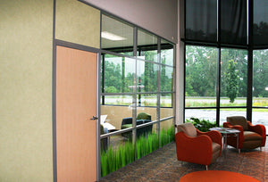NXTWALL Flex Series Glass Front With Custom Decorative Glass Panels Glass Office