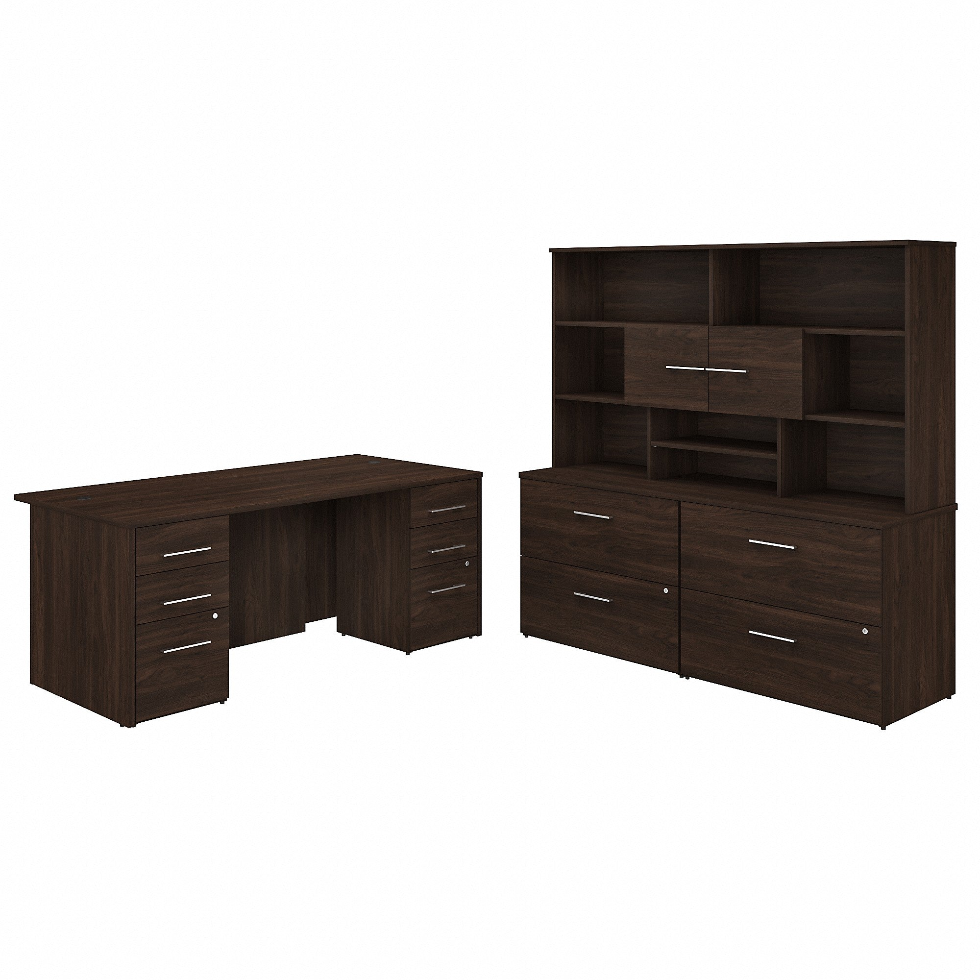 Bush Business Furniture Office 500 72W x 36D Executive Desk with Drawers, Lateral File Cabinets and Hutch | Black Walnut