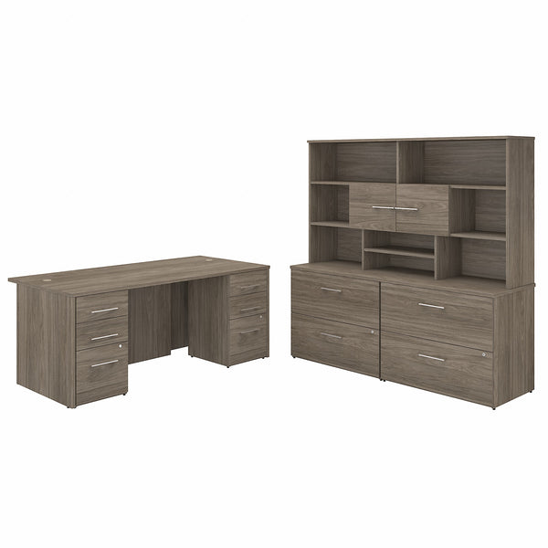 Bush Business Furniture Office 500 72W x 36D Executive Desk with Drawers, Lateral File Cabinets and Hutch | Modern Hickory