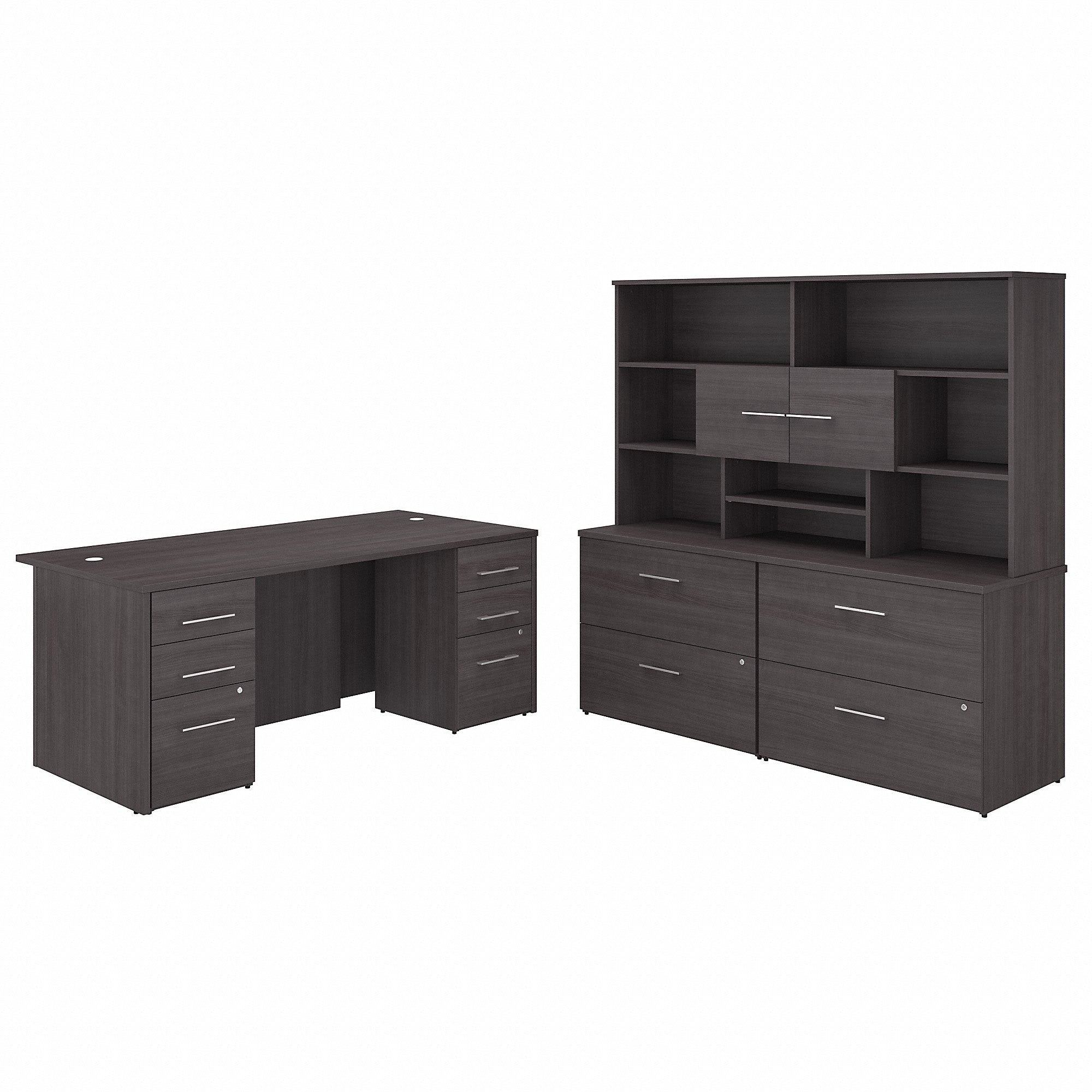 Bush Business Furniture Office 500 72W x 36D Executive Desk with Drawers, Lateral File Cabinets and Hutch | Storm Gray