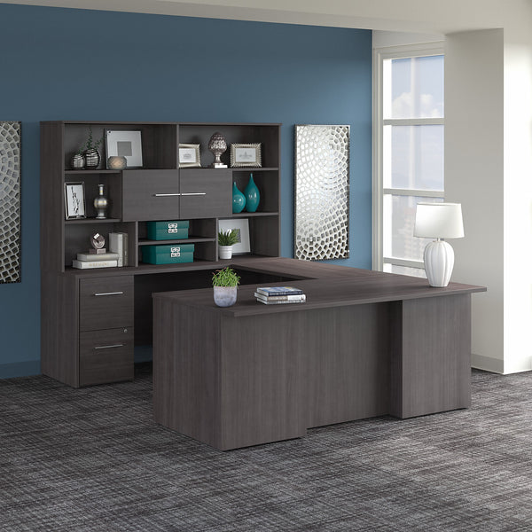 Bush Business Furniture Office 500 72W U Shaped Executive Desk with Drawers and Hutch | Storm Gray