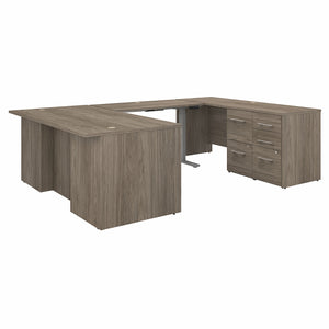 Bush Business Furniture Office 500 72W Height Adjustable U Shaped Executive Desk with Drawers | Modern Hickory