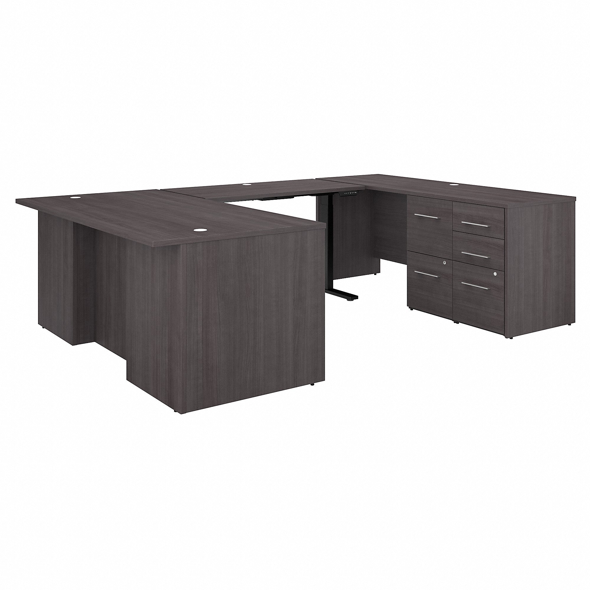 Bush Business Furniture Office 500 72W Height Adjustable U Shaped Executive Desk with Drawers | Storm Gray