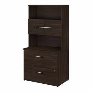 Bush Business Furniture Office 500 36W 2 Drawer Lateral File Cabinet with Hutch | Black Walnut
