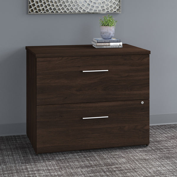 Bush Business Furniture Office 500 36W 2 Drawer Lateral File Cabinet - Assembled | Black Walnut