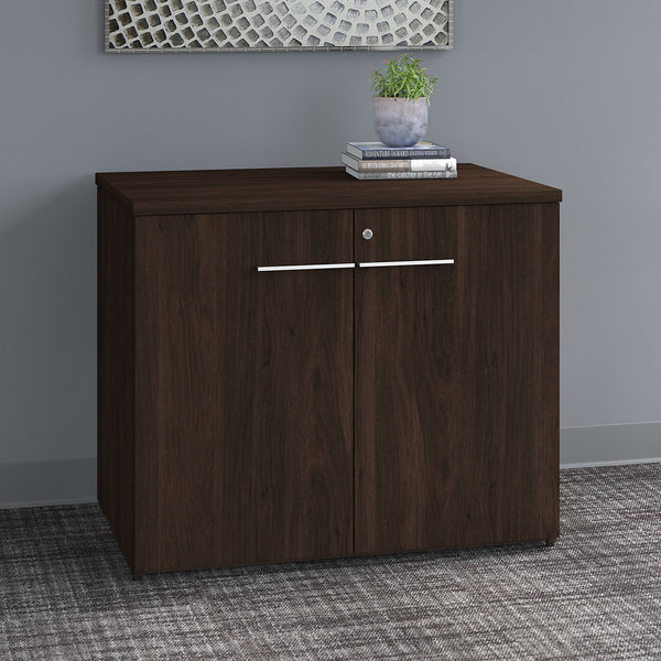 Bush Business Furniture Office 500 36W Storage Cabinet with Doors - Assembled | Black Walnut