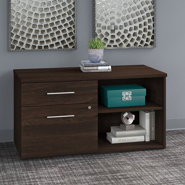 Bush Business Furniture Office 500 Low Storage Cabinet with Drawers and Shelves | Black Walnut