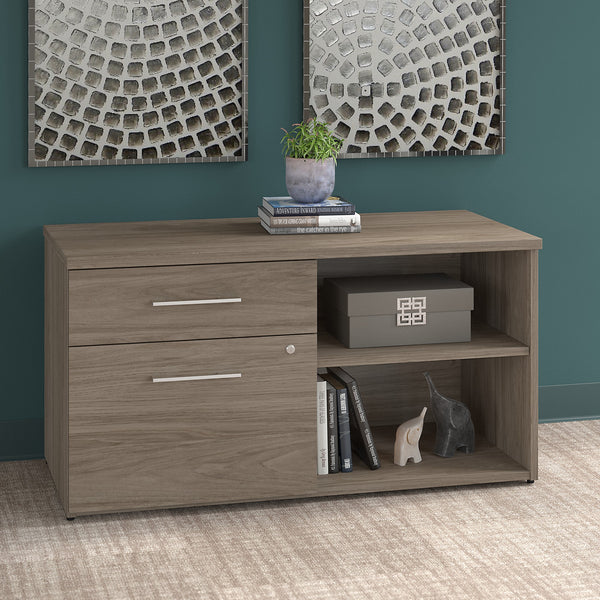 Bush Business Furniture Office 500 Low Storage Cabinet with Drawers and Shelves | Modern Hickory
