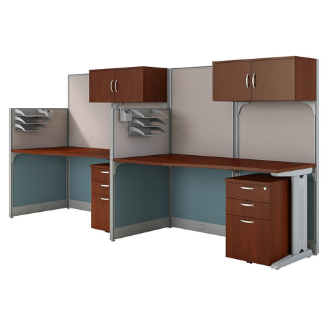 Bush Business Furniture Office in an Hour 2 Person Cubicle Workstations | Hansen Cherry