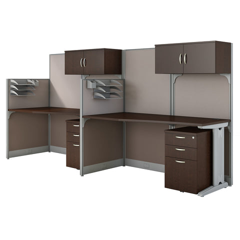 Bush Business Furniture Office in an Hour 2 Person Cubicle Workstations | Mocha Cherry