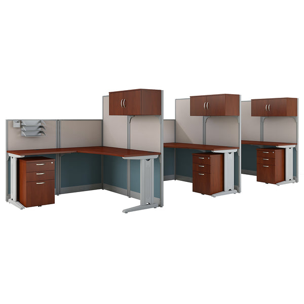 Bush Business Furniture Office in an Hour 3 Person L Shaped Cubicle Workstations | Hansen Cherry