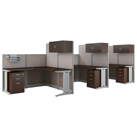 Bush Business Furniture Office in an Hour 3 Person L Shaped Cubicle Workstations | Mocha Cherry