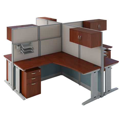 Bush Business Furniture Office in an Hour 4 Person L Shaped Cubicle Workstations | Hansen Cherry