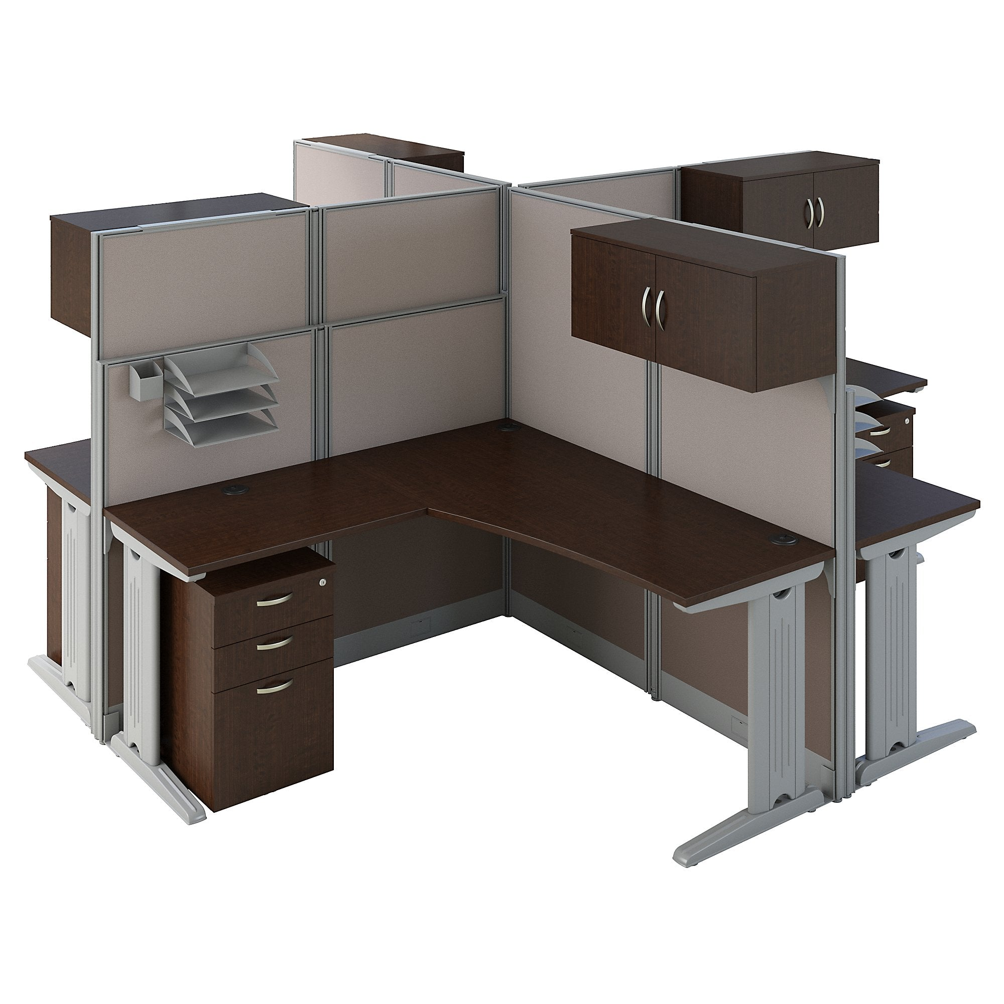 Bush Business Furniture Office in an Hour 4 Person L Shaped Cubicle Workstations | Mocha Cherry
